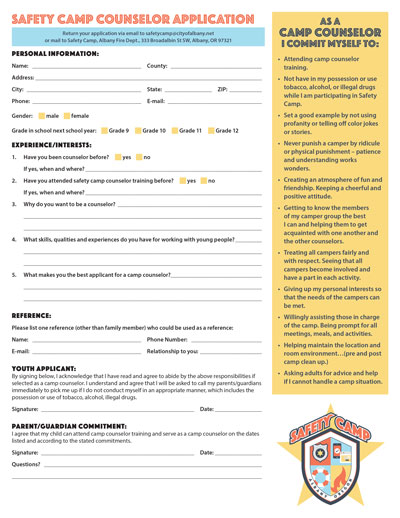 2018 safety camp counselor application 2